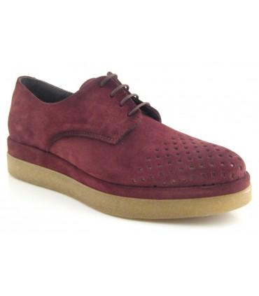Zapato blucher serraje burdeos