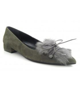 Zapato salón pelo color verde