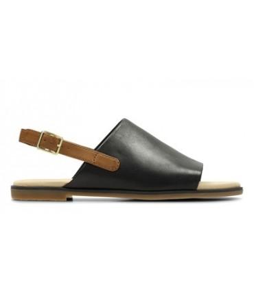 Sandalia negra plana
