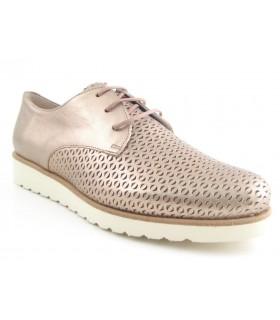 Zapato calado metalizado plomo