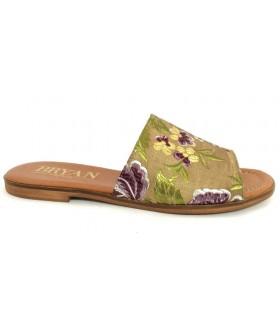 Sandalia plana con tejido