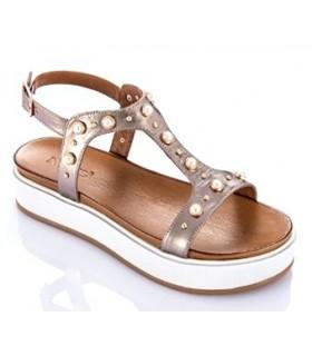 Sandalia plataforma con perlas