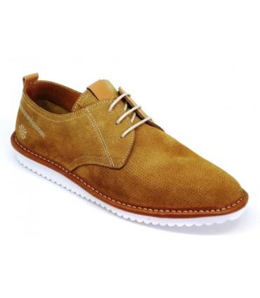 Zapato de cordones afelpado cuero