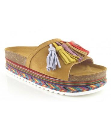 Sandalia con flecos de colores