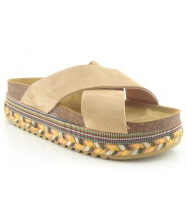 Sandalia plana suela de esparto multicolor