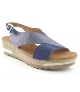 Sandalias de cuña color azul