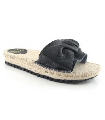Sandalias de yute negra