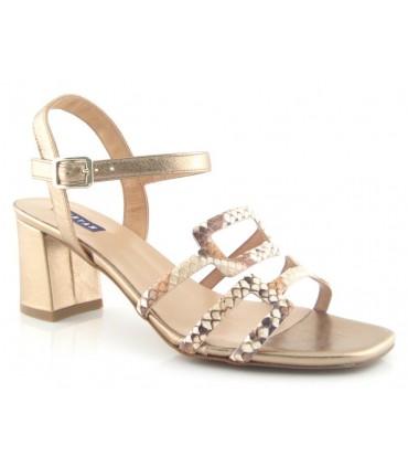 Sandalia de tacón combinado cobre