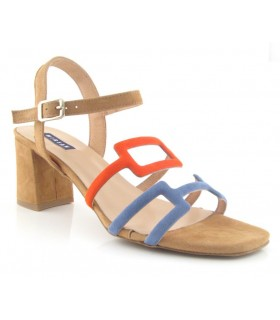 Sandalias de tacón combinada en ante