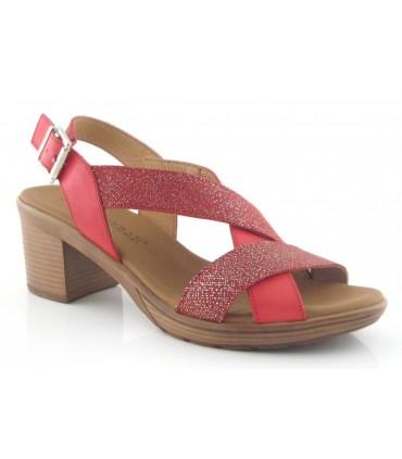 Sandalia de tacón color rojo