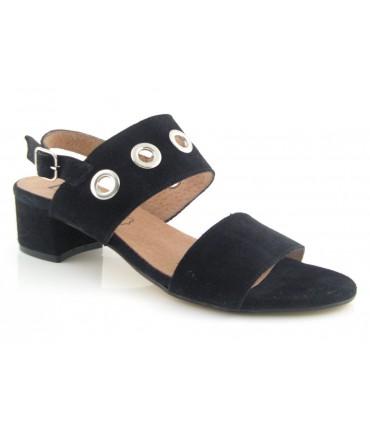 Sandalias de tacón negra con ojales