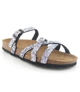 Sandalia bio en glitter plata