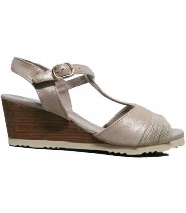 Sandalia de cuña color plata