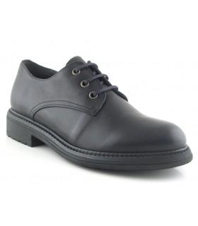 Zapato de cordones en piel negra