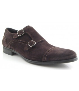 Zapato velour marrón dos hebillas