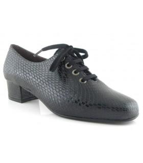Zapato de confort en serpiente negra