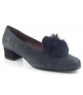 Zapato salón con pompón en antracita