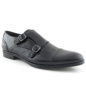Zapato de vestir dos hebillas color negro