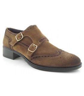Zapato dos hebillas en serraje kaki