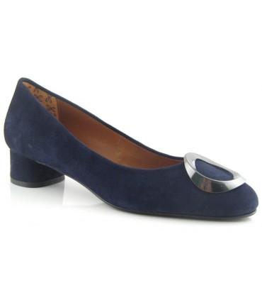 Zapato salón azul mujer adorno circular