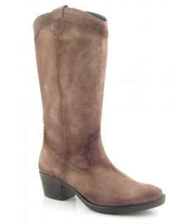 Bota alta campera color taupe