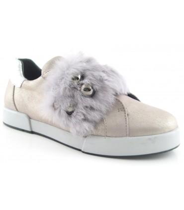 Zapato en color piedra con pelo