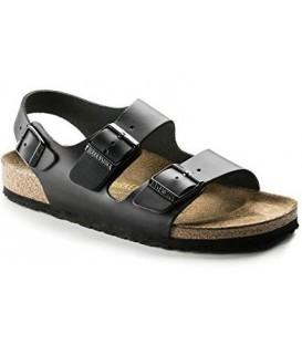 Sandalia negra con dos hebillas