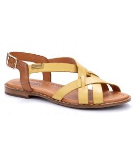 Sandalia plana de piel color amarillo