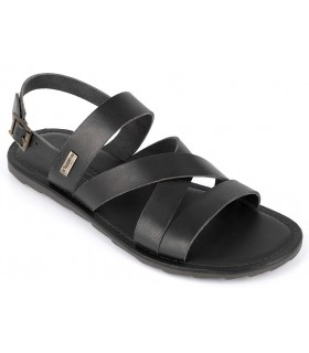 Sandalia plana de piel color negro