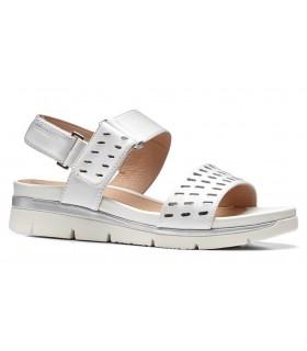 Sandalia de confort con velcros blanca