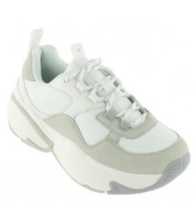 Deportivas de moda piso ancho color blanco