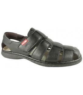 Sandalia para hombre clásica con velcros en color negro