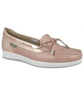 Zapato de confort mocasín con lazo color nude