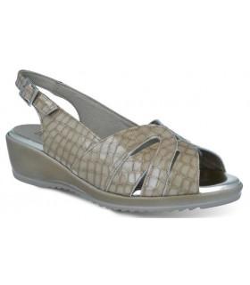 Sandalias de confort para mujer en coco piedra
