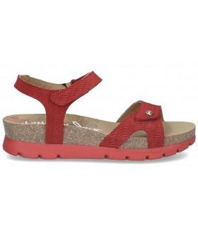 Sandalia plana con velcros color rojo