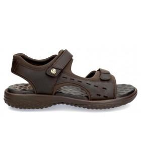 Sandalia de confort con velcros color marrón