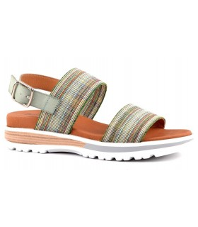 Sandalia plana con tejido cuadros color aguamar