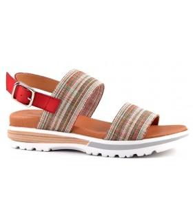 Sandalia plana con tejido color rojo