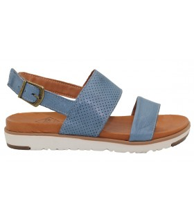 Sandalia plana con hebilla color jeans