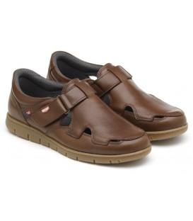 Sandalia de confort color cuero