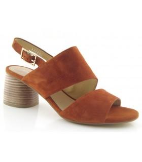 Sandalia de tacón en ante cuero