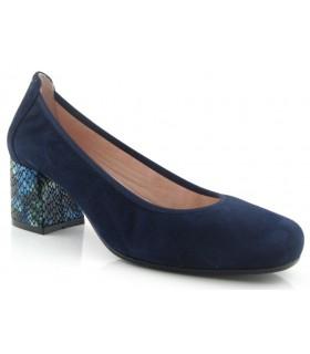 Zapato corte salón en color marino con tacón en serpiente