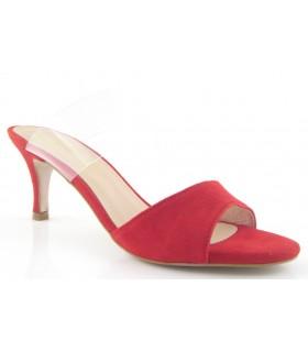 Sandalia para mujer de color rojo con tira de vinilo