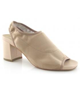 Sandalia elástica en licra beige