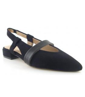 Zapato corte salón destalonado con tiras color negro