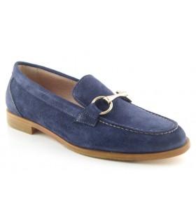 Zapato mocasín serraje azul con estribo