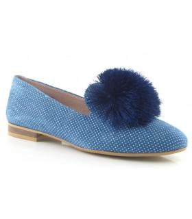 Zapato mocasín con pompón azul