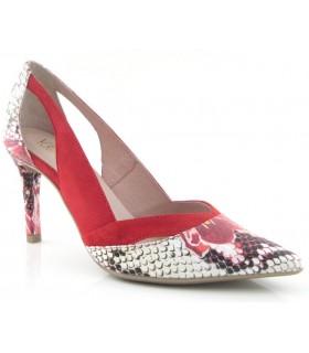 Zapatos de vestir combinado ante rojo y serpiente