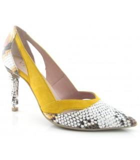 Zapatos de vestir combinado ante mostaza y serpiente
