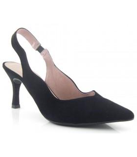 Zapatos con tacón corte ondulado color negro